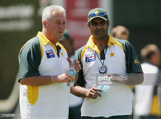 Pakistan coaches Bob Woolmer chats to Waqar Younis during Pakistan nets today ahead of tomorrow's first NPower Test match against England at Lords on...