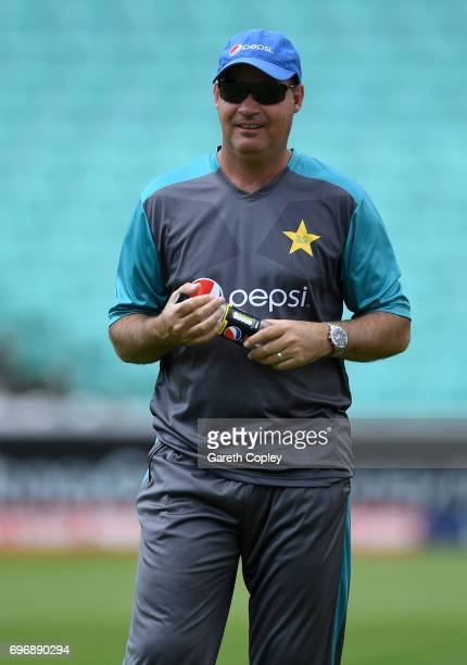 Pakistan cocch Micky Arthur during a nets session at The Kia Oval on June 17 2017 in London England
