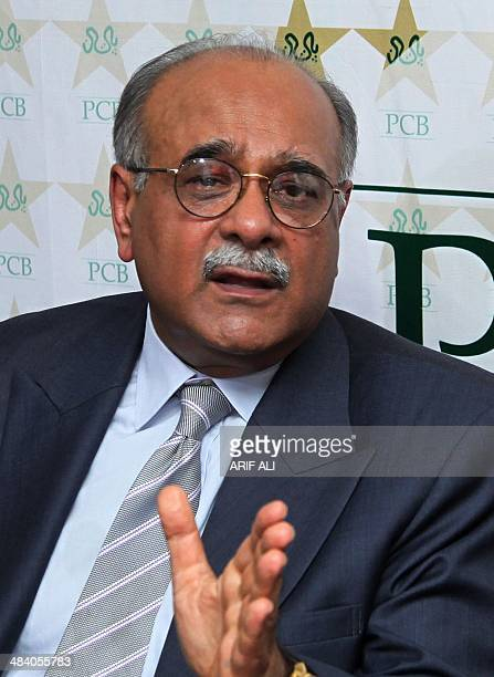 Pakistan Cricket Board chairman Najam Sethi speaks during a press conference in Lahore on April 11 2014 Sethi said his country will get eight years...