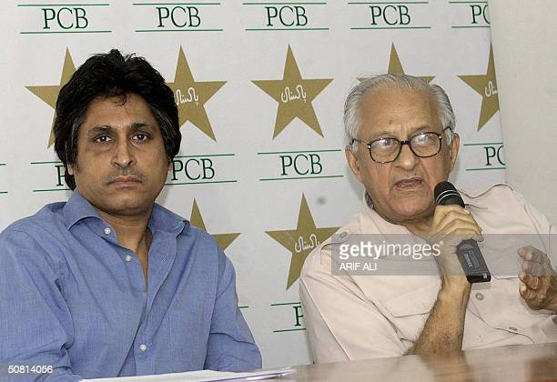 Pakistan Cricket Board chairman Shaharyar Khan addresses a press conference as Ramiz Raja Chief Executive Cricket Board looks on in Lahore 08 May...