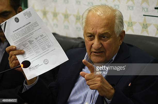 Pakistan Cricket Board chairman Shaharyar Khan speaks during a press conference in Lahore on October 21 2015 Pakistan's blind cricketers pulled out...