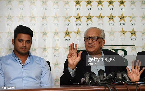 Pakistan Cricket Board chairman Shahryar Khan addresses the media along with newly appointed oneday international captain Azhar Ali in Lahore on...