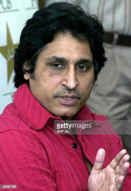 Pakistan Cricket Board chief executive Ramiz Raja gestures as he speaks during a a press conference in Lahore 21 February 2004 Raja said the Indian...
