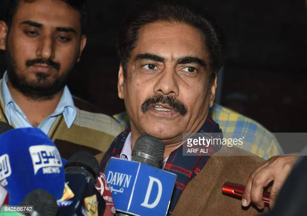 Pakistan Cricket Board spokesman Amjad Bhatti briefs the media after a Pakistan Super League spotfixing case hearing in Lahore on February 18 2017...