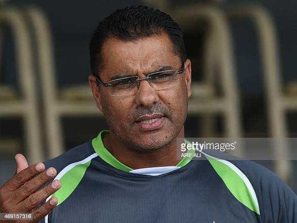 Pakistan cricket head coach Waqar Younis talks to press in Lahore on April 10 2015 Pakistani cricket head coach Waqar Younis on April 10 said players...