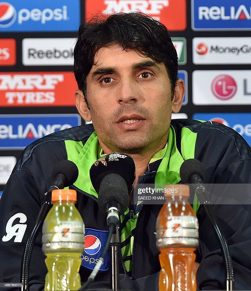 Pakistan cricket team captain Misbah-ul-Haq speaks during a press conference in Adelaide - pakistan-cricket-team-captain-misbahulhaq-speaks-during-a-press-in-picture-id466780070