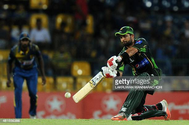Pakistan cricketer Ahmed Shehzad plays a shot during the fourth One Day International match between Sri Lanka and Pakistan at the R Premadasa...