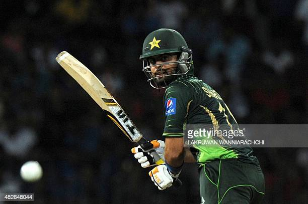 Pakistan cricketer Ahmed Shehzad plays a shot during the second Twenty20 International cricket match between Sri Lanka and Pakistan at The R...