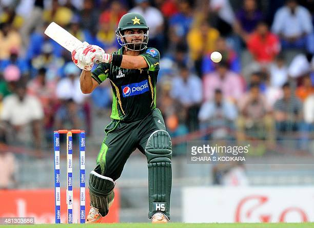Pakistan cricketer Ahmed Shehzad plays a shot during the third One Day International match between Sri Lanka and Pakistan at the R Premadasa...