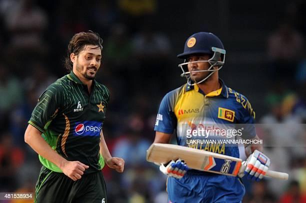 Pakistan cricketer Anwar Ali celebrates after dismissing Sri Lankan cricketer Milinda Siriwardane during the fourth One Day International cricket...