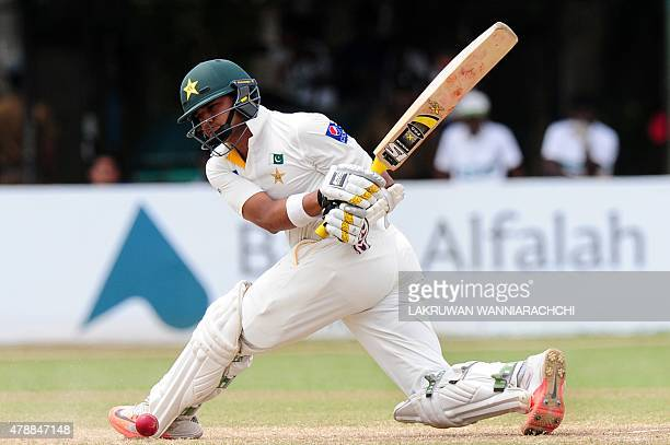 Pakistan cricketer Azhar Ali raises plays a shot during the fourth day of the second Test match between Sri Lanka and Pakistan at the P Sara Oval...