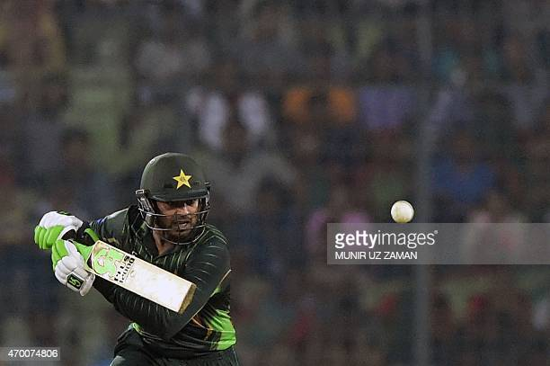 Pakistan cricketer Haris Sohail plays a shot during the first One Day International cricket match between Bangladesh and Pakistan at the ShereBangla...