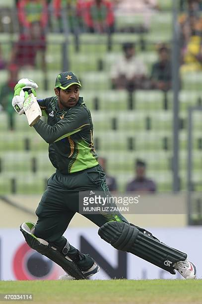 Pakistan cricketer Haris Sohail plays a shot during the second One Day International cricket match between Bangladesh and Pakistan at the ShereBangla...
