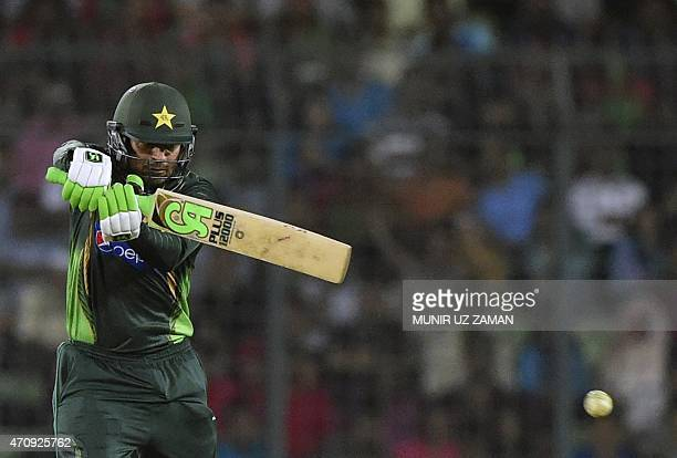 Pakistan cricketer Haris Sohail plays a shot during the T20 match between Bangladesh and Pakistan at the ShereBangla National Cricket Stadium in...