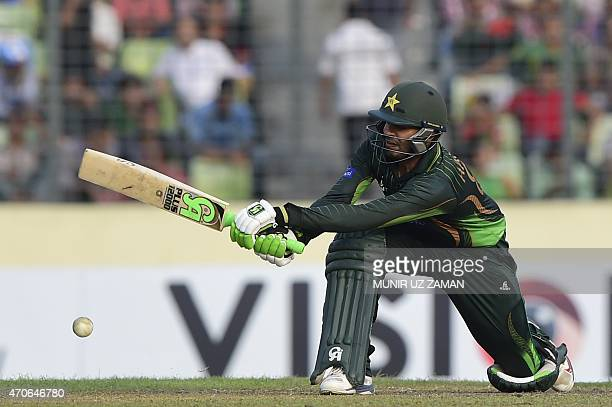 Pakistan cricketer Haris Sohail plays a shot during the third One Day International cricket match between Bangladesh and Pakistan at the ShereBangla...