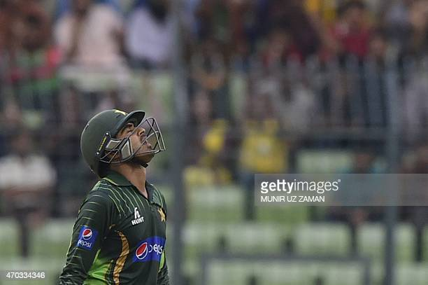 Pakistan cricketer Haris Sohail reacts after being dismissed by Bangladesh captain Mashrafe Bin Mortaza during the second One Day International...