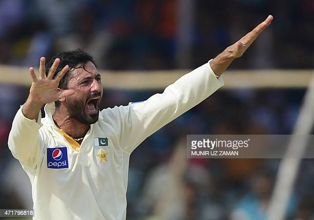 Pakistan cricketer Junaid Khan appeals unsuccessfully for a leg before wicket decision against Bangladesh batsman Imrul Kayes during the fourth day...