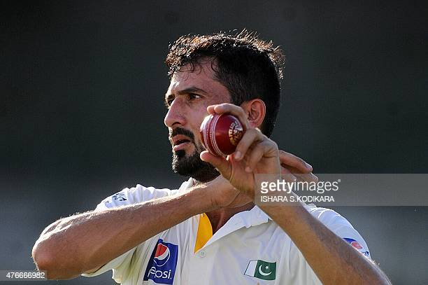 Pakistan cricketer Junaid Khan looks on during the first day of the three day warmup match between Sri Lanka Board President's XI and Pakistan at the...