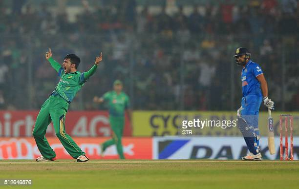 Pakistan cricketer Mohammad Amir successfully appeals for a Leg Before Wicket decision during the match between India and Pakistan at the Asia Cup...