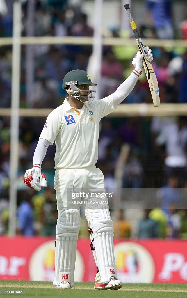 Pakistan cricketer Mohammad Hafeez celebrates his half century during the second day of the first cricket Test match between Bangladesh and Pakistan...