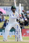 Pakistan cricketer Mohammad Hafeez plays a shot during the final day of the opening Test match between Sri Lanka and Pakistan at the Galle...