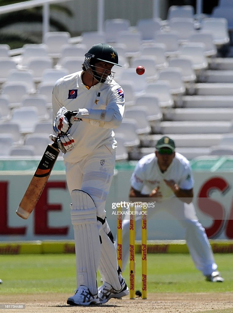 Pakistan cricketer Muhammad Irfan plays a shot off the bowled of unseen South African cricketer Jacques Kallis on day two of the 2nd Test between South Africa and Pakistan , in Cape Town at Newlands on February 15, 2013.