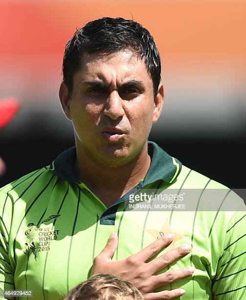 Pakistan cricketer Nasir Jamshed looks on during the 2015 Cricket World Cup Pool B match between Pakistan and Zimbabwe at the Gabba Stadium in...