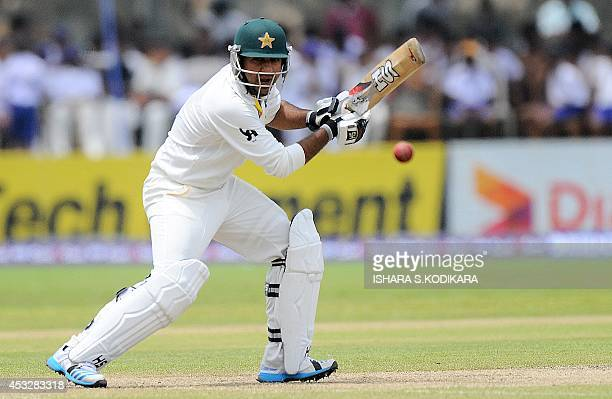 Pakistan cricketer Sarfraz Ahmed plays a shot during the second day of the opening Test match between Sri Lanka and Pakistan at the Galle...