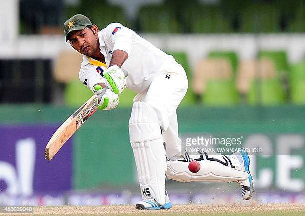 Pakistan cricketer Sarfraz Ahmed plays a shot during the second day of the second Test match between Sri Lanka and Pakistan at the Sinhalese Sports...