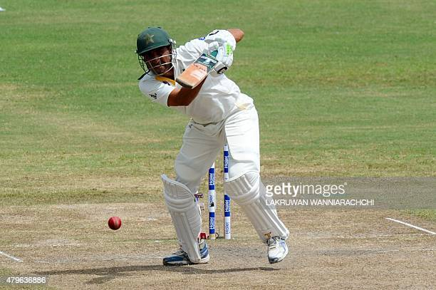 Pakistan cricketer Younis Khan plays a shot during the fourth day of the third and final Test cricket match between Sri Lanka and Pakistan at the...