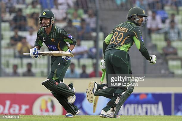 Pakistan cricketers Saad Nasim and Haris Sohail run between the wickets during the second One Day International cricket match between Bangladesh and...
