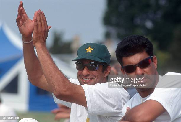 Pakistan cricketers Wasim Akram and Waqar Younis during the 1996 tour of England circa July 1996