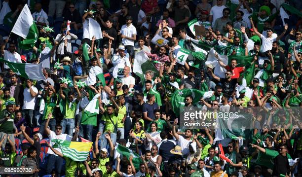 Pakistan fans cheer on their team during the ICC Champions Trophy Semi Final between England and Pakistan at SWALEC Stadium on June 14 2017 in...