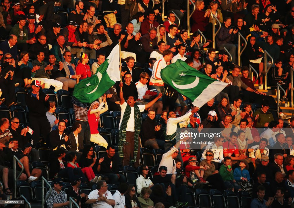 Pakistan fans show their support during the Men's preliminary Hockey match between Argentina and Pakistan on Day 5 of the London 2012 Olympic Games at Riverbank Arena on August 1, 2012 in London, England.