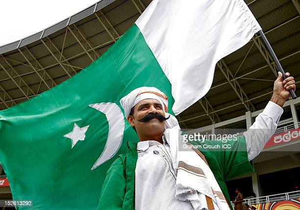 Pakistan flies the national flag in the stands ahead of the ICC World T20 Group D match between New Zealand and Pakistan at Pallekele Cricket Stadium...