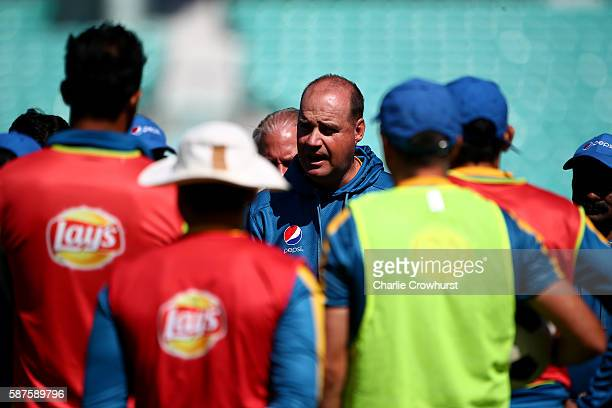 Pakistan Head Coach Mickey Arthur chats to the players during the England and Pakistan nets session at The Kia Oval on August 9 2016 in London England