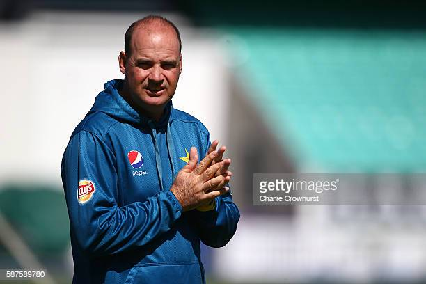 Pakistan Head Coach Mickey Arthur keeps an eye on the session during the England and Pakistan nets session at The Kia Oval on August 9 2016 in London...