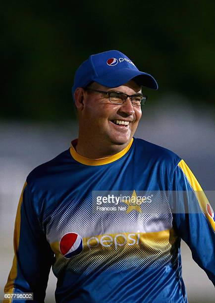Pakistan Head Coach Mickey Arthur looks on during a net session at ICC Cricket Academy on September 19 2016 in Dubai United Arab Emirates