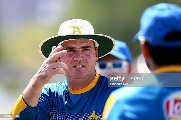 Pakistan Head Coach Mickey Arthur looks on during a nets session at ICC Cricket Academy on September 21 2016 in Dubai United Arab Emirates