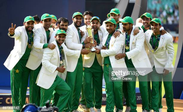 Pakistan lift the ICC Champions Trophy after being India during ICC Champions Trophy Final between India and Pakistan at The Kia Oval on June 18 2017...