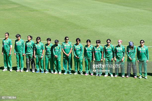 Pakistan line up for their national anthem prior to the Women's One Day International match between the New Zealand White Ferns and Pakistan on...