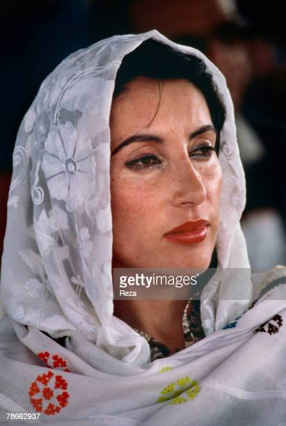 Pakistan People's Party candidate Benazir Bhutto during the election campaign against current President General Muhammad ZiaulHaq for the position of...