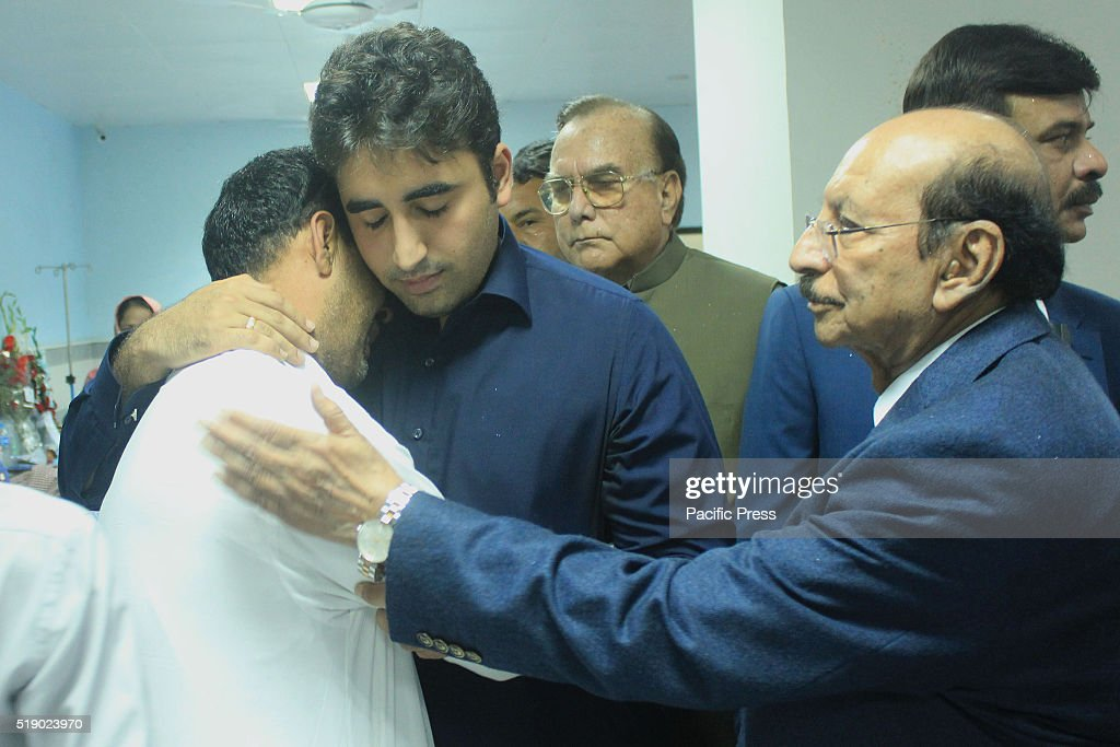 Pakistan Peoples Party (PPP) Chairman, <a gi-track='captionPersonalityLinkClicked' href=/galleries/search?phrase=Bilawal+Bhutto+Zardari&family=editorial&specificpeople=4779537 ng-click='$event.stopPropagation()'>Bilawal Bhutto Zardari</a> visits and inquires about the health of injured victims of suicidal bomb blast at Gulshan-e-Iqbal Park at Jinnah Hospital.