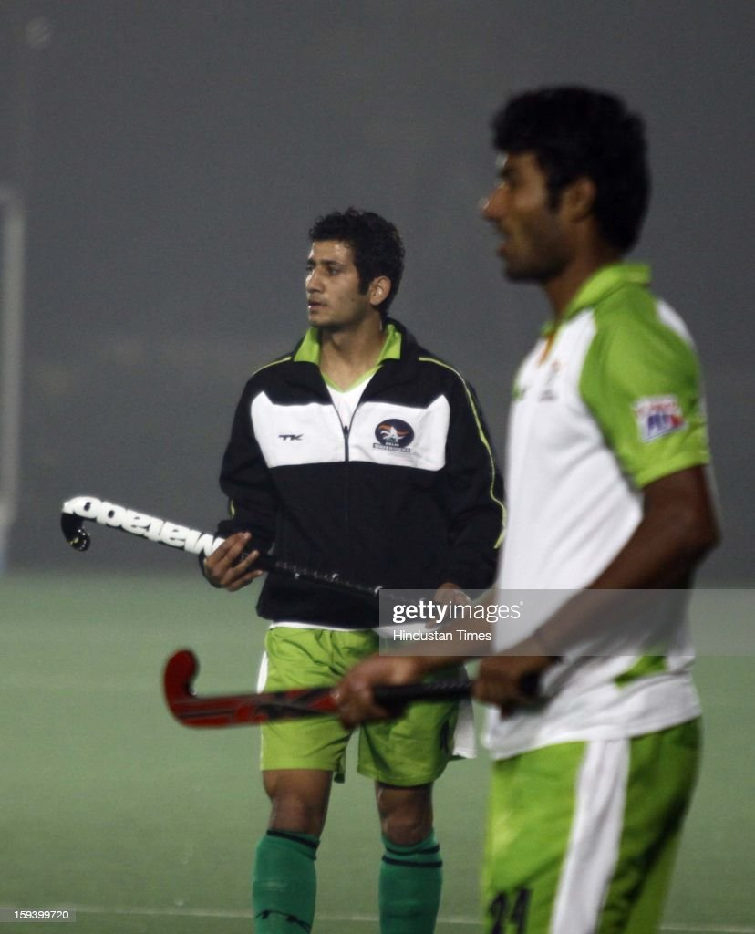 Pakistan Player Mohammed Rizwan Jr., a member of Delhi Wave Riders team, during the practice session ahead of Hockey India League at Major Dhyan Chand National Stadium on January 13, 2013 in New Delhi, India.