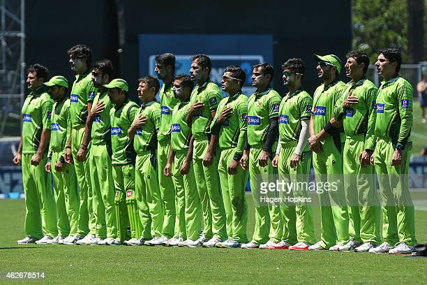 Pakistan players line up for the national anthem uring the One Day International match between New Zealand and Pakistan at McLean Park on February 3...