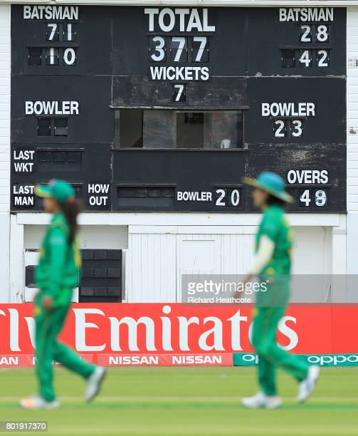 Pakistan players walk off at the end of the final over during the Women's ICC World Cup group match between England and Pakistan at Grace Road on...
