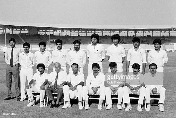 Pakistan pose for a team group prior to the start of the fifth day of the 3rd Test Match played at the National Stadium Karachi Pakistan on the 22nd...
