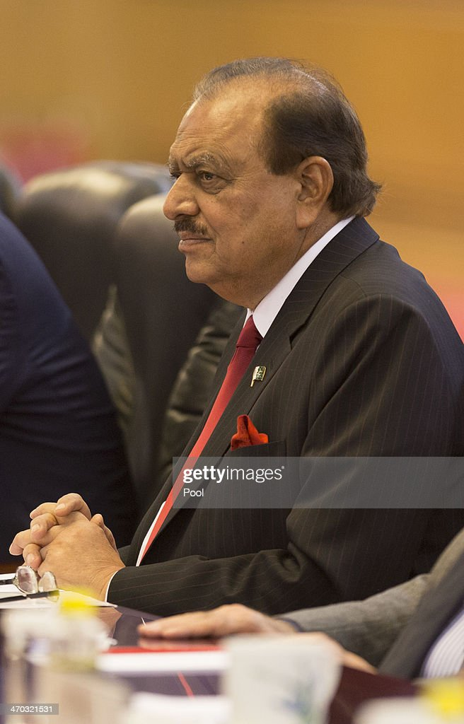 Pakistan President <a gi-track='captionPersonalityLinkClicked' href=/galleries/search?phrase=Mamnoon+Hussain&family=editorial&specificpeople=11183703 ng-click='$event.stopPropagation()'>Mamnoon Hussain</a> (L) attends talks with Chinese President <a gi-track='captionPersonalityLinkClicked' href=/galleries/search?phrase=Xi+Jinping&family=editorial&specificpeople=2598986 ng-click='$event.stopPropagation()'>Xi Jinping</a> (not in picture) at the Great Hall of the People on February 19, 2014 in Beijing, China. Hussain is on a four day visit to China to bolster bilateral ties including a range of agreements on economy and trade.