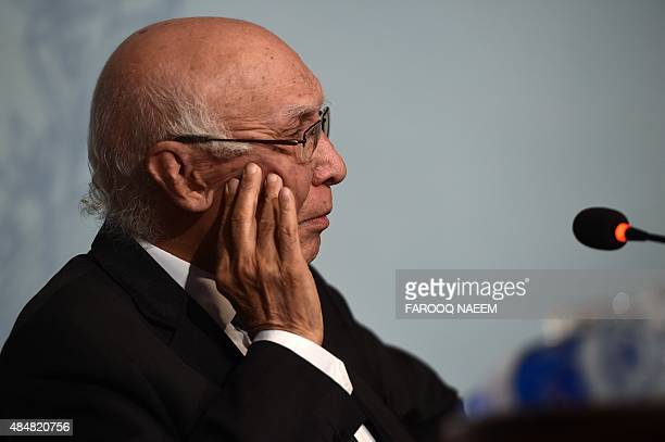 Pakistan Prime Minister Adviser on National Security and Foreign Affairs Sartaj Aziz listens during a press briefing in Islamabad on August 22 2015...