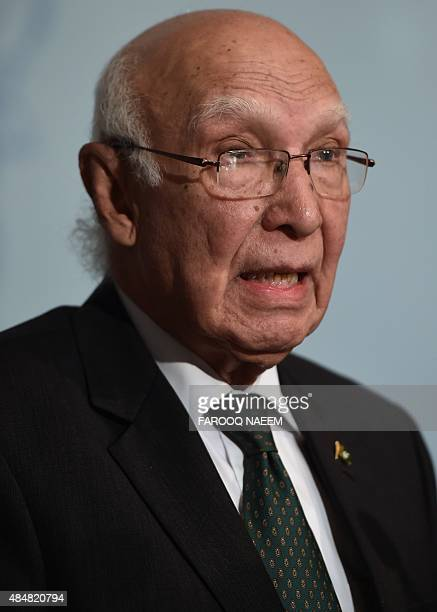 Pakistan Prime Minister Adviser on National Security and Foreign Affairs Sartaj Aziz addresses a press briefing in Islamabad on August 22 2015...